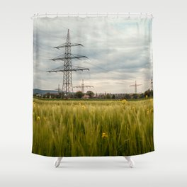 Landscape view of the electric tower over the rapeseed plantation in Germany Shower Curtain