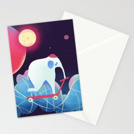 Space Elephant riding  Kick scooter Stationery Cards