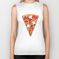 miles davis Biker Tanks featuring PIZZA POWER - VEGO VERSION by Daisy Beatrice