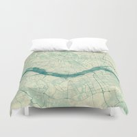 seoul Duvet Covers featuring Seoul Map Blue Vintage by City Art Posters