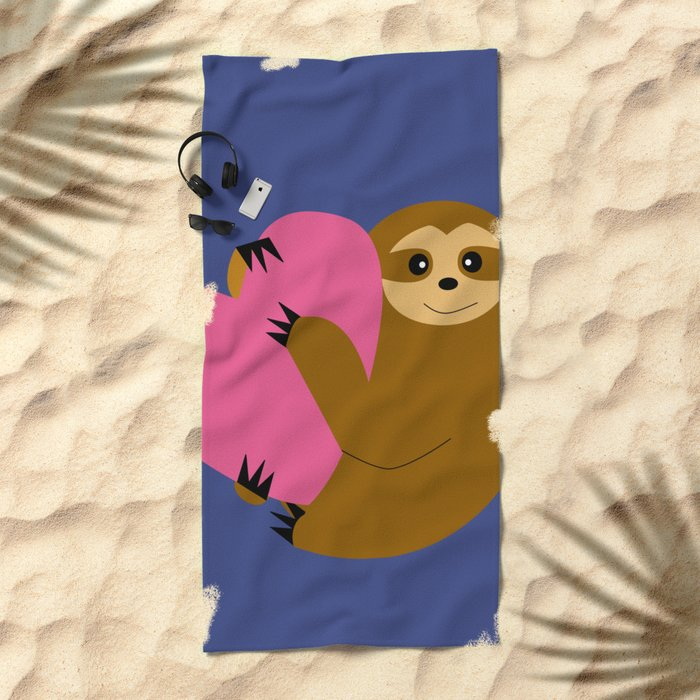 Sloth in love blue Beach Towel