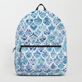 PAISLEY MERMAID Watercolor Scale Pattern Backpack