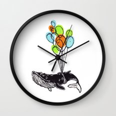 Balloons Whale Wall Clock
