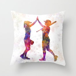 women playing softball 01 Throw Pillow