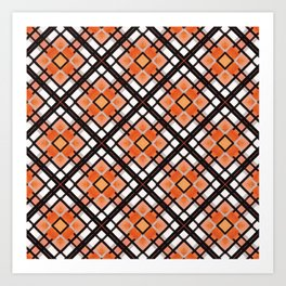 Autumn Inspired Orange Brown and White Art Print