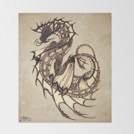 """Tsunami"" by Amber Marine ~ Sea Dragon ~ Graphite & Charcoal Illustration, (Copyright 2005) Throw Blanket"