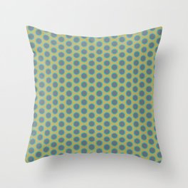 LIMON - grey & bright sea green polka-dots on chartreuse Throw Pillow