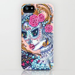 Pink Victorian Queen of Hearts wearing roses in Sugar Skull Make up for Day of the Dead Festival iPhone Case
