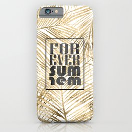 "Modern ""forever summer"" gold tropical palm leaves design iPhone Case"