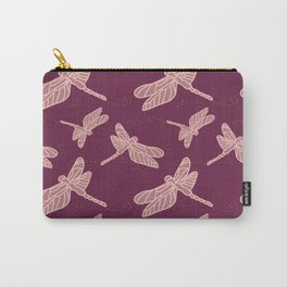 Fly Home Collection- Dragonfly Deep Red Violet  Carry-All Pouch