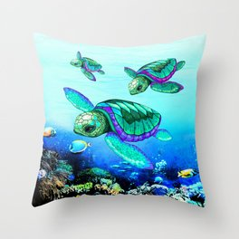 Sea Turtles Dance Throw Pillow