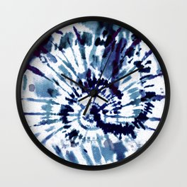 Blue Dye and Tie Wall Clock