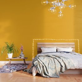 Bright Beer Yellow Simple Solid Color All Over Print Wallpaper