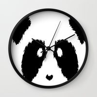 boobs Wall Clocks featuring Panda Boobs by Lizard Illustration