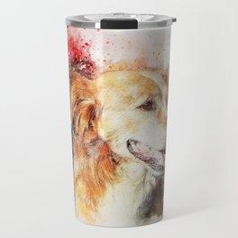 Dog sitting animal art abstract Travel Mug