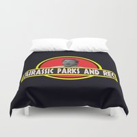 parks Duvet Covers featuring Jurassic Parks And Rec by anthonykun