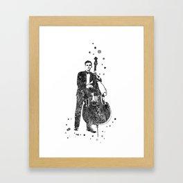 Jazz musician, watercolor jazz musician, double bass player, Framed Art Print