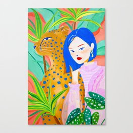 Short Hair Girl and Leopard in Garden Canvas Print