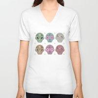 sugar skulls V-neck T-shirts featuring Sugar Skulls by Terry Lee