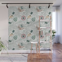 Paisely Flower Pattern Green Gray Wall Mural