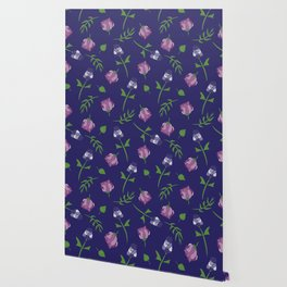 Whimsical Floral Pattern In Blue, Pink and Purple Wallpaper