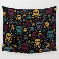 skulls Wall Tapestries featuring Skulls by Alice Gosling