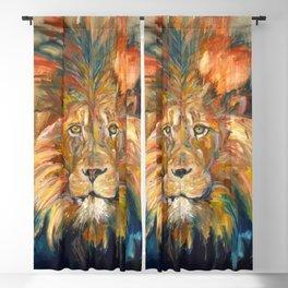 Lion Oil Painting Blackout Curtain
