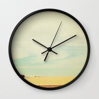 farm Wall Clocks featuring Farm Polaroid by Kurt Rahn