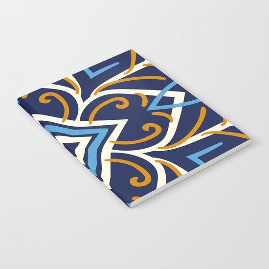 Decorative Floral Pattern 3 - Blue Shakespeare , Mango Tango, Cream Notebook