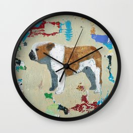 English Bulldog Abstract Art Wall Clock