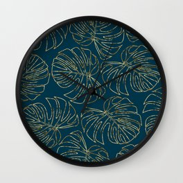 Metallic Monstera Leaves Wall Clock