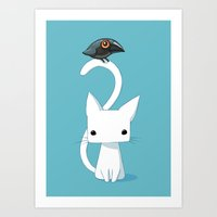 chibi Art Prints featuring Cat and Raven by Freeminds