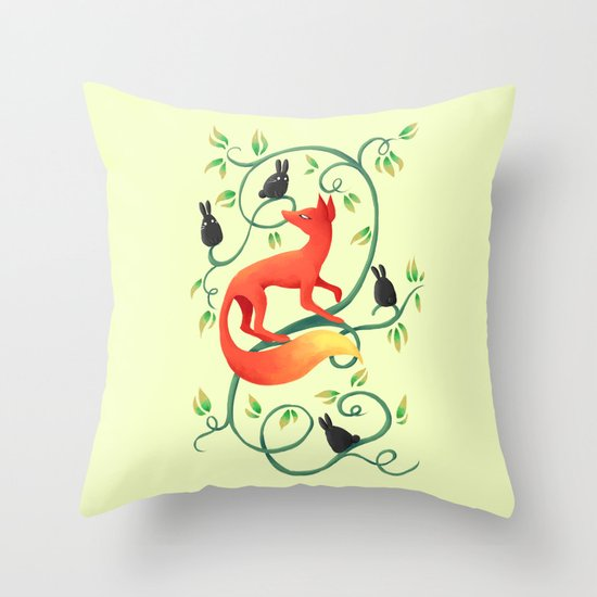 Bunnies and a Fox Throw Pillow