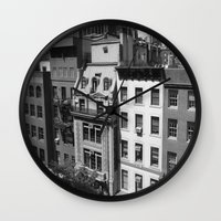 buildings Wall Clocks featuring Buildings by Mariairene Didoni