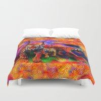 tigers Duvet Covers featuring Psychedelic Tigers by JT Digital Art