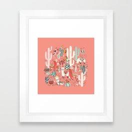 Lama in cactus jungles Framed Art Print