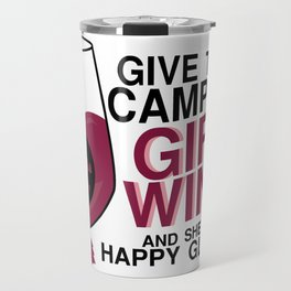 Happy Camping Girl Wine Funny Travel Mug