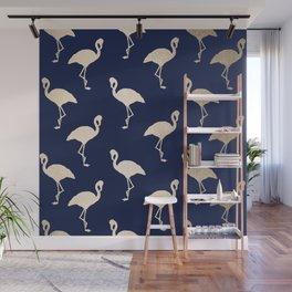 Gold Flamingo Pattern Navy Blue Wall Mural