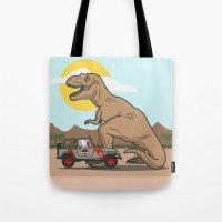 jurassic park Tote Bags featuring Jurassic Park - T-Rex by Michael Walchalk