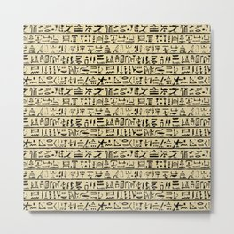 Egyptian Hieroglyphics // Tan Metal Print