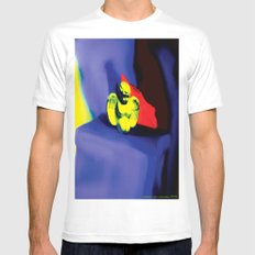 Lamentation in Blue, Yellow, and Orange White Mens Fitted Tee MEDIUM