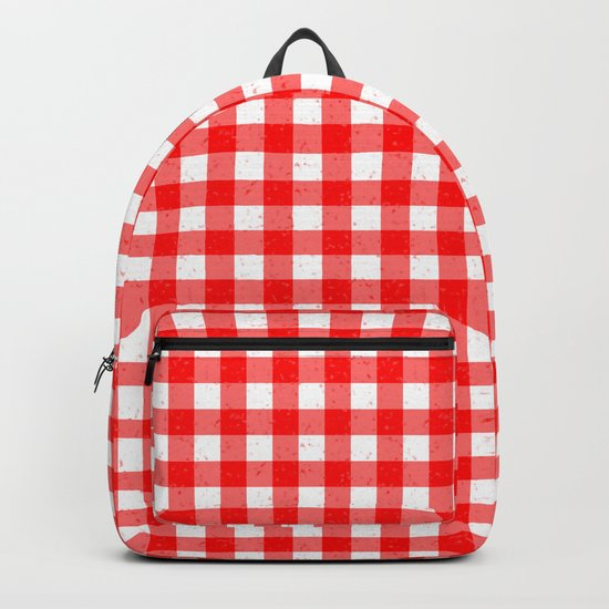 Gingham Red and White Pattern Backpack