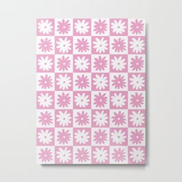 Pink And White Checkered Floral Pattern Metal Print