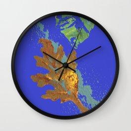 Oak Leaf on Royal Blue Painting Wall Clock