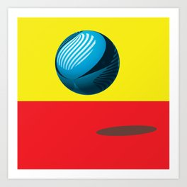 Bounce - Abstract Minimalism Red Yellow Blue Art Print