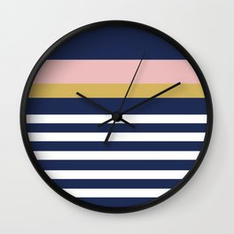 Graduated Stripes in Navy Blue, Blush Pink, Mustard Yellow, and White. Minimalist Color Block Design Wall Clock
