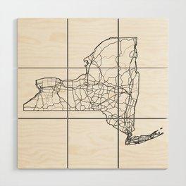 New York White Map Wood Wall Art