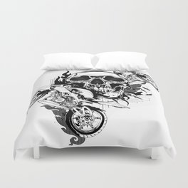 Until One of Us Starts Raving - Skull and Motorbikes b/w Duvet Cover