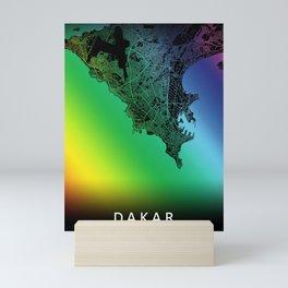 Dakar, Senegal, City, Map, Rainbow, Map, Art, Print Mini Art Print