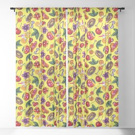 Watercolor summer pattern on yellow background Sheer Curtain